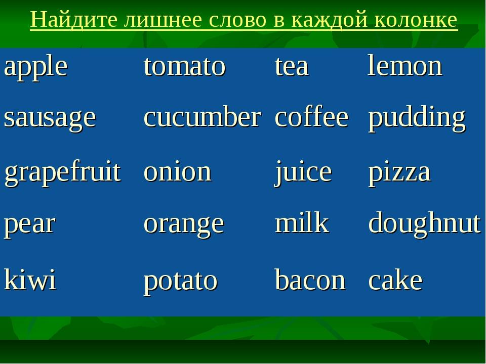 Найдите лишнее слово в каждой колонке appletomatotealemon sausagecucumber...
