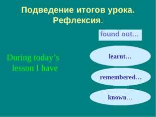 Подведение итогов урока. Рефлексия. found out… During today's lesson I have