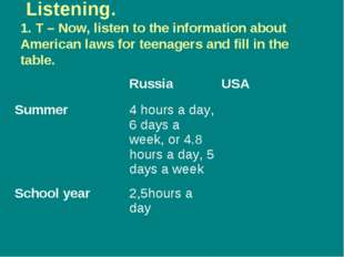 Listening. 1. T – Now, listen to the information about American laws for tee