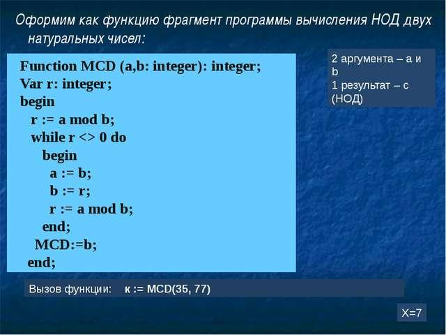 Оформим как функцию фрагмент программы вычисления НОД двух натуральных чисел:...