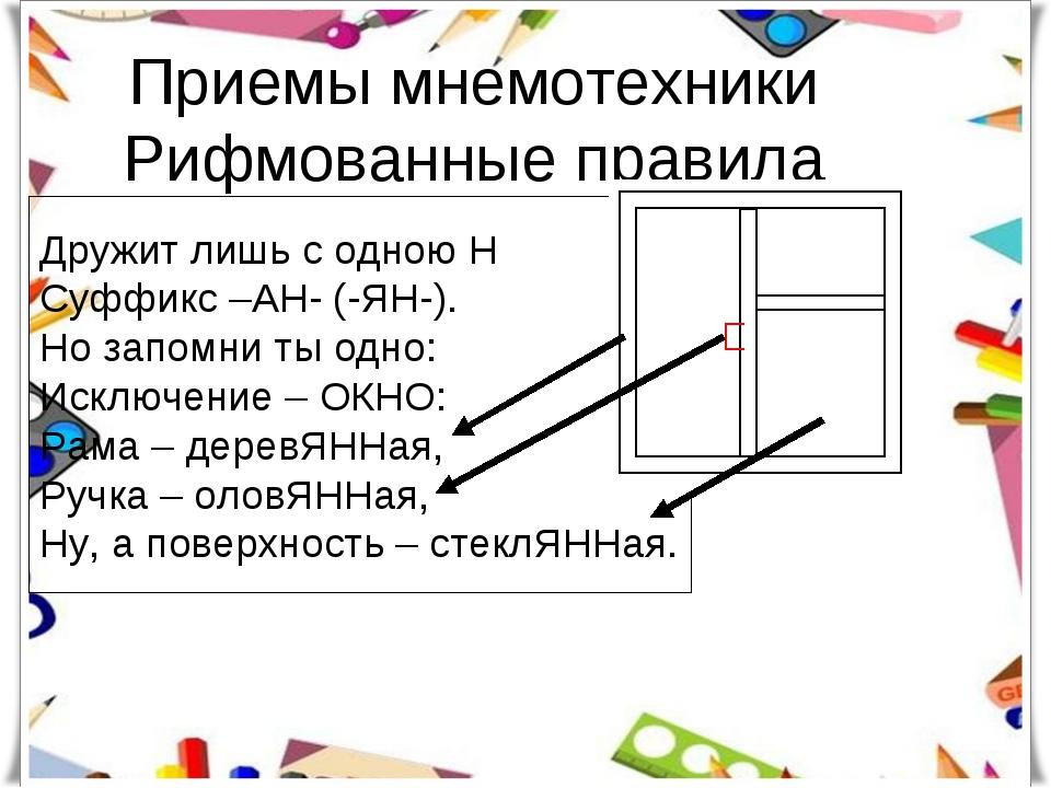 Приемы мнемотехники Рифмованные правила Дружит лишь с одною Н Суффикс –АН- (-...