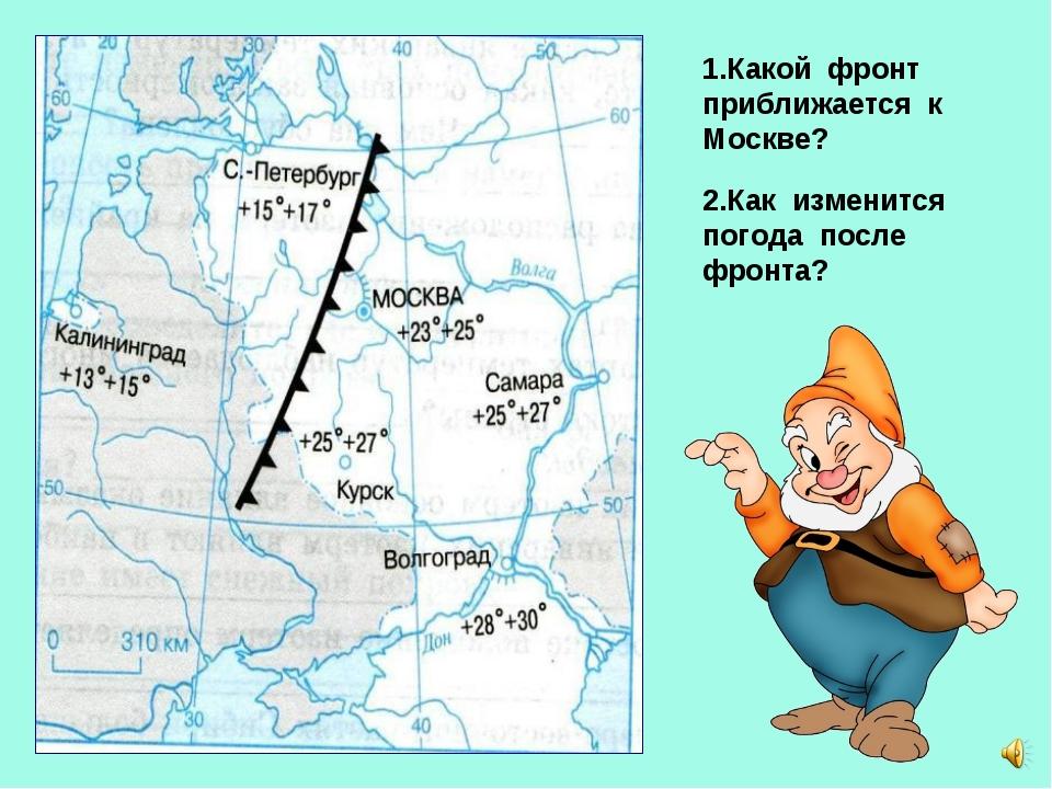 1.Какой фронт приближается к Москве? 2.Как изменится погода после фронта?