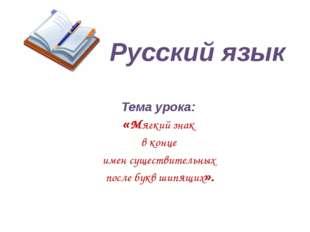 Русский язык Тема урока: «Мягкий знак в конце имен существительных после букв