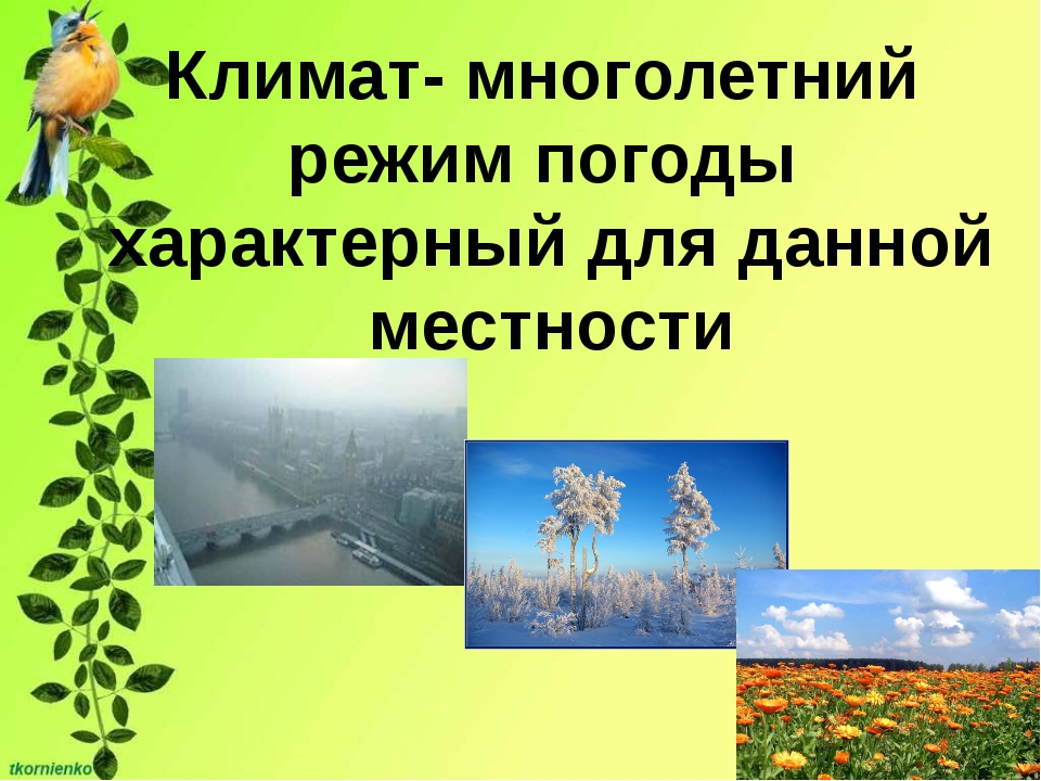 Климат- многолетний режим погоды характерный для данной местности