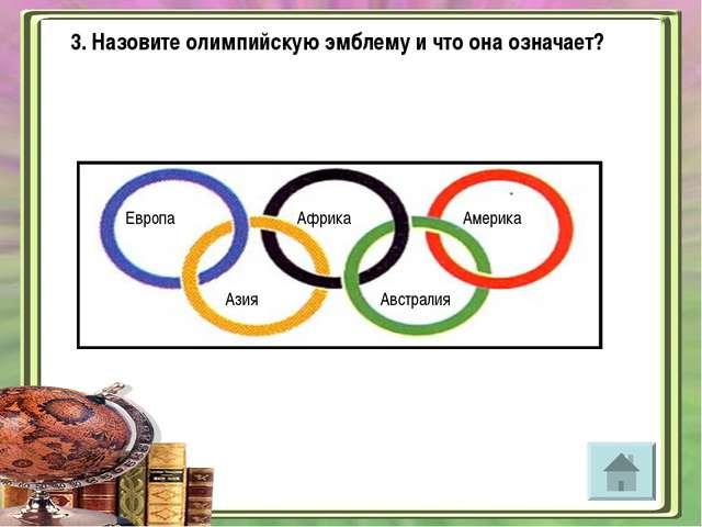 3. Назовите олимпийскую эмблему и что она означает? Европа Африка Америка Ази...