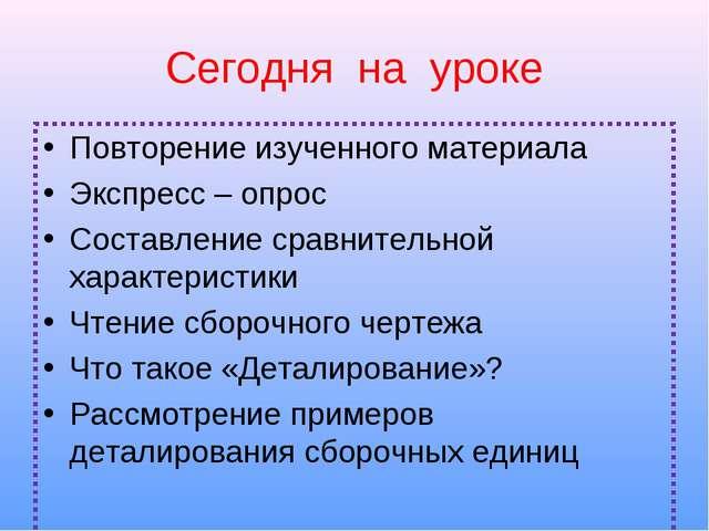 Сегодня на уроке Повторение изученного материала Экспресс – опрос Составление...
