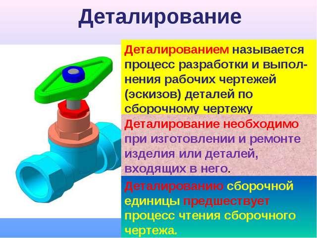 Деталирование Деталированием называется процесс разработки и выпол-нения рабо...