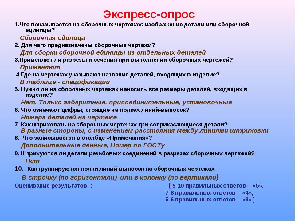 Экспресс-опрос 1.Что показывается на сборочных чертежах: изображение детали и...