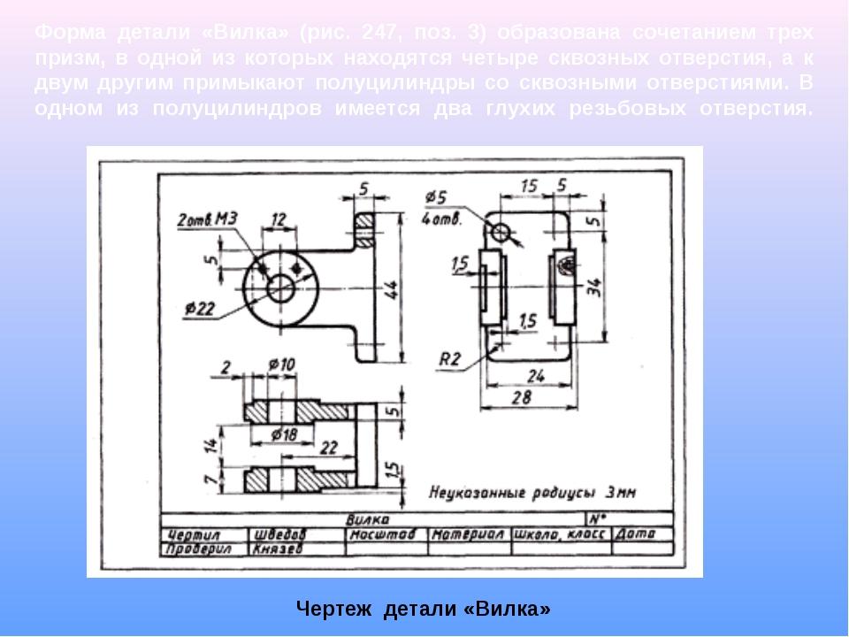 Чертеж детали «Вилка» Форма детали «Вилка» (рис. 247, поз. 3) образована соче...