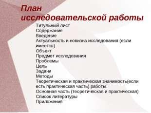 План исследовательской работы Титульный лист Содержание Введение Актуальность