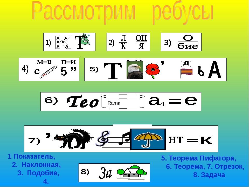 5. Теорема Пифагора, 6. Теорема, 7. Отрезок, 8. Задача 1 Показатель, 2. Накл...