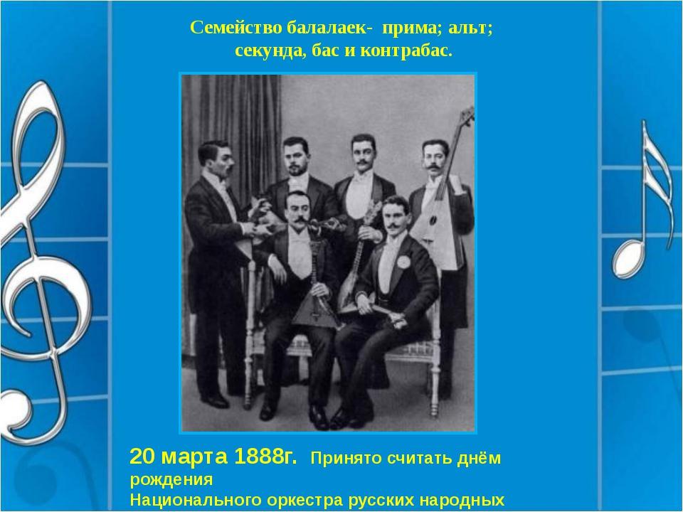Семейство балалаек- прима; альт; секунда, бас и контрабас. 20 марта 1888г. Пр...