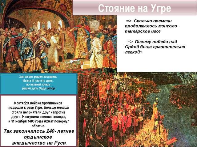 Хан Ахмат решил заставить Ивана III платить дань, но великий князь решил дать...