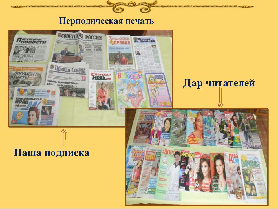 Периодическая печать Наша подписка Дар читателей
