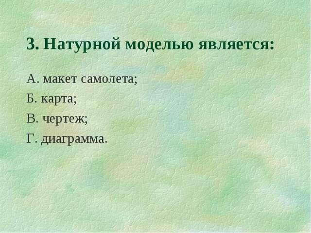 3. Натурной моделью является: А. макет самолета; Б. карта; В. чертеж; Г. диаг...