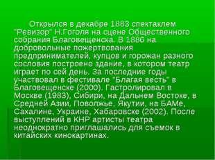 """Открылся в декабре 1883 спектаклем """"Ревизор"""" Н.Гоголя на сцене Общественного"""