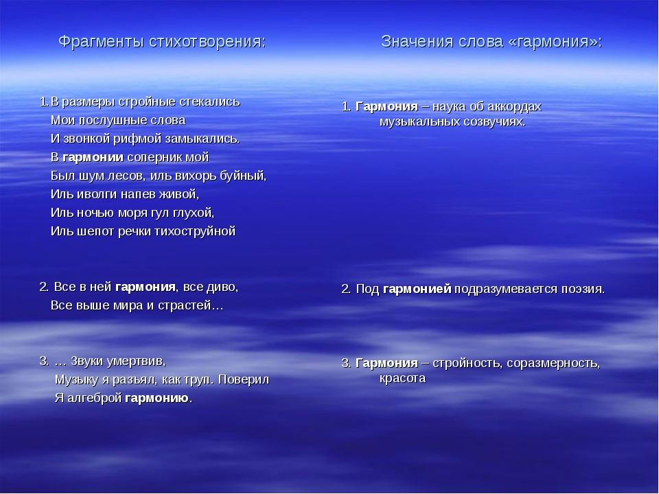 Фрагменты стихотворения: Значения слова «гармония»: 1.В размеры стройные стек...