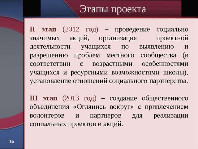 * II этап (2012 год) – проведение социально значимых акций, организация проек...