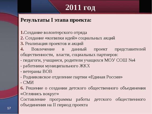 * 2011 год Результаты I этапа проекта: 1.Создание волонтерского отряда 2. Соз...