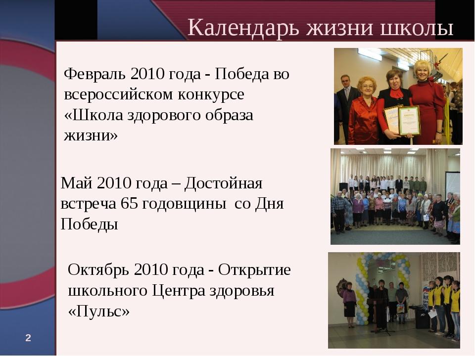 * Календарь жизни школы Февраль 2010 года - Победа во всероссийском конкурсе...