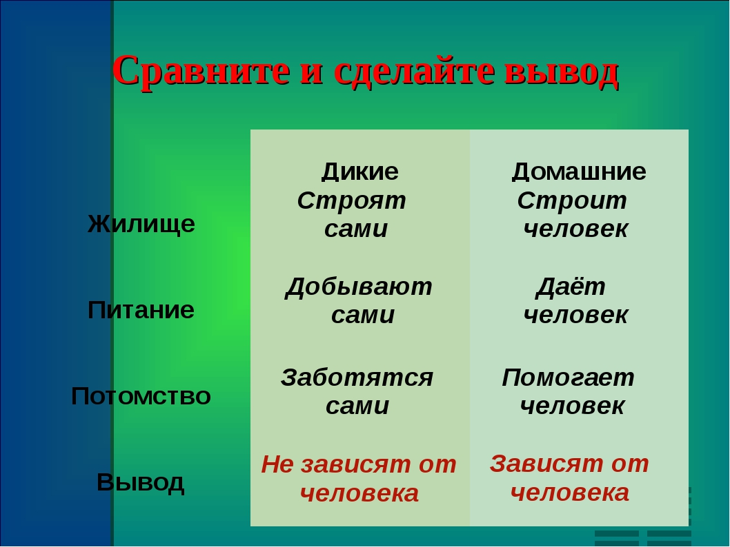 Сравните и сделайте вывод Строят сами Заботятся сами Даёт человек Добывают са...
