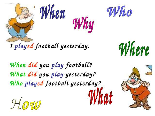 I played football yesterday. When did you play football? What did you play y...