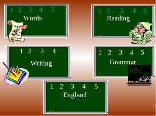 Words Reading Writing Grammar England 1 2 3 4 5 1 2 3 4 5 1 2 3 4 1 2 3 4 5 1