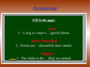 Grammar Fill in the gaps: A dog is a man's …(good) friend. Horses are …(beaut