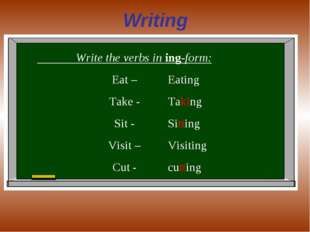 Writing Write the verbs in ing-form: Eat – Take - Sit - Visit – Cut - Eating
