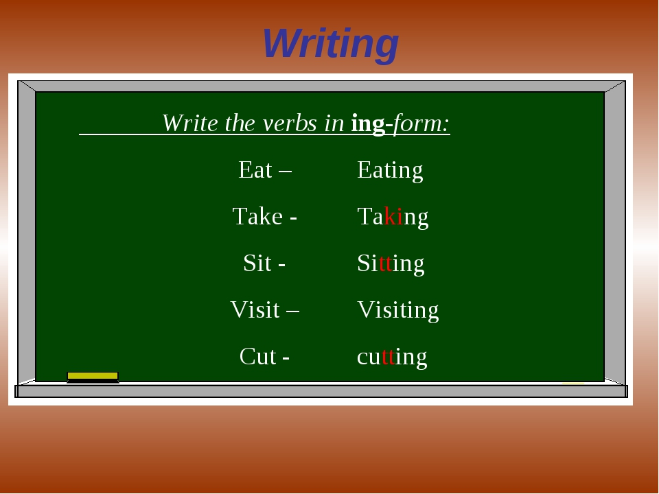 Writing Write the verbs in ing-form: Eat – Take - Sit - Visit – Cut - Eating...