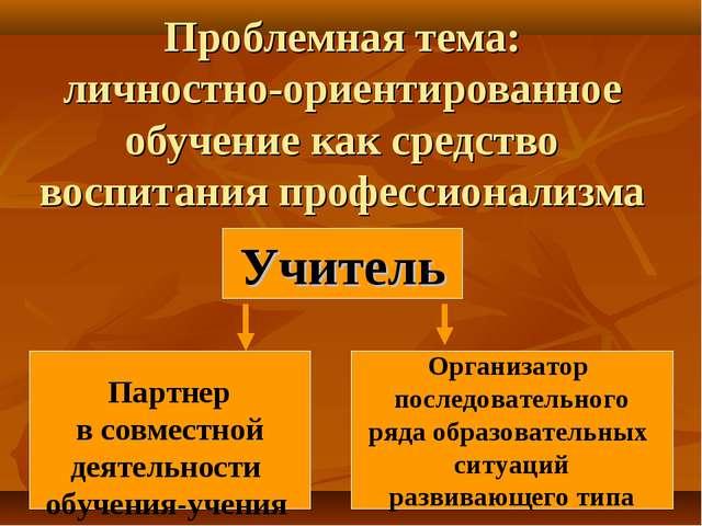 Проблемная тема: личностно-ориентированное обучение как средство воспитания п...