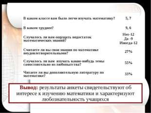 Вывод: результаты анкеты свидетельствуют об интересе к изучению математики и