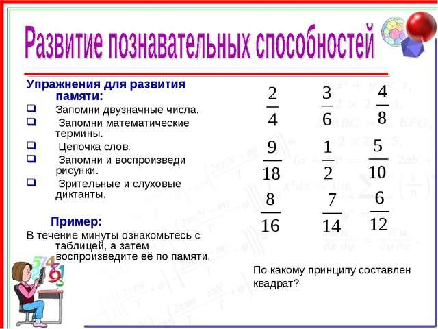 Упражнения для развития памяти: Запомни двузначные числа. Запомни математичес...