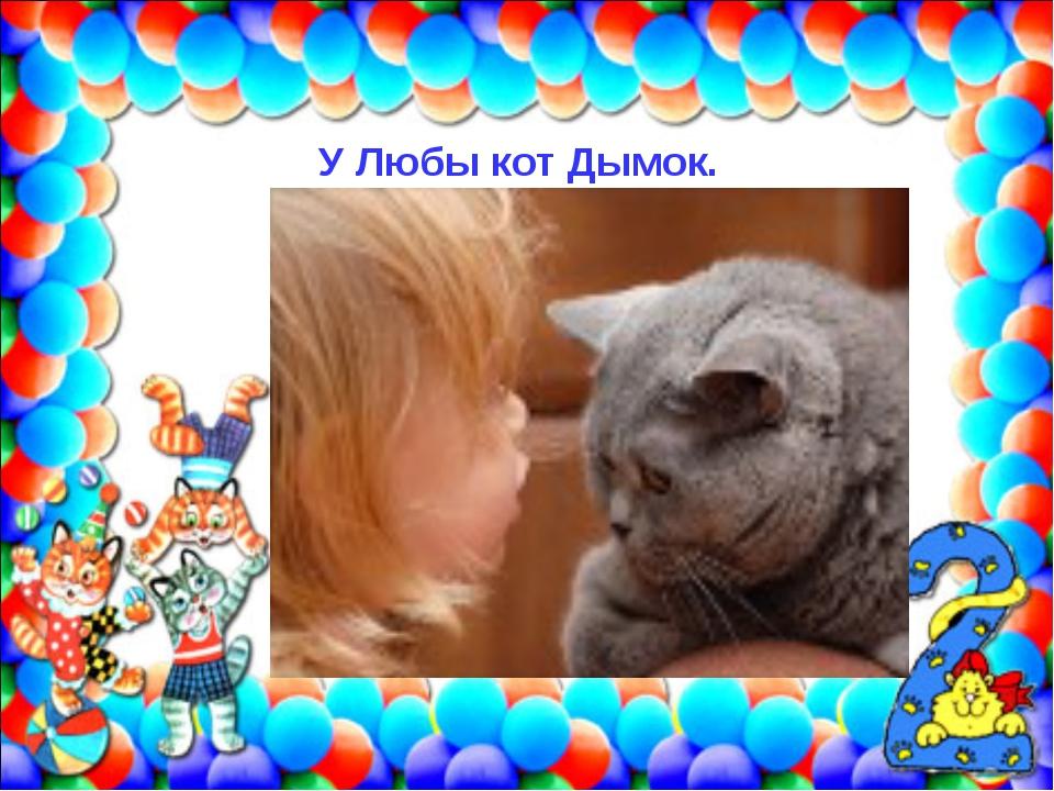 У Любы кот Дымок.