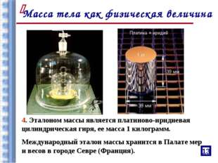4. Эталоном массы является платиново-иридиевая цилиндрическая гиря, ее масса
