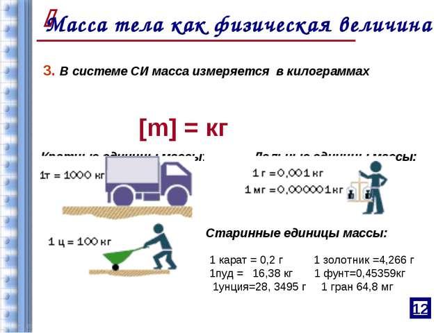 3. В системе СИ масса измеряется в килограммах [m] = кг Кратные единицы масс...
