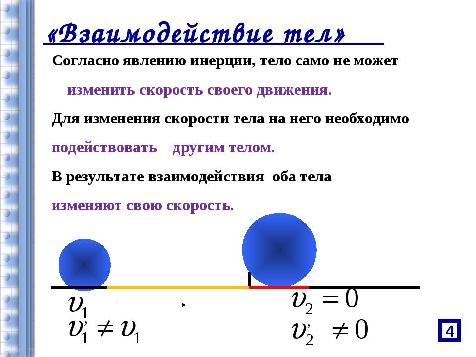 «Взаимодействие тел» Согласно явлению инерции, тело само не может изменить ск...