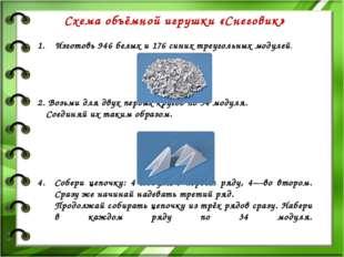 Схема объёмной игрушки «Снеговик» Изготовь 946 белых и 176 синих треугольных