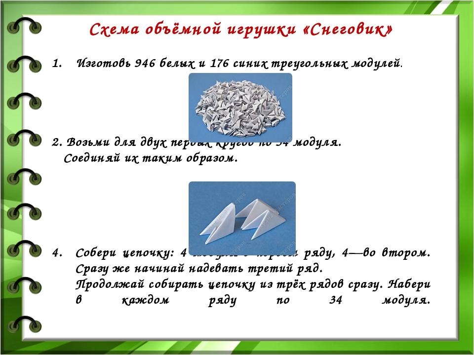 Схема объёмной игрушки «Снеговик» Изготовь 946 белых и 176 синих треугольных...