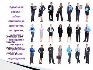 Идеальная работа – работа, отвечающая ценностям, интересам, навыкам и амбиция