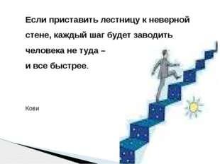 Если приставить лестницу к неверной стене, каждый шаг будет заводить человека