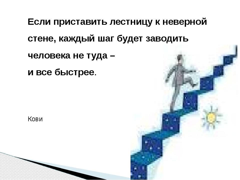 Если приставить лестницу к неверной стене, каждый шаг будет заводить человека...