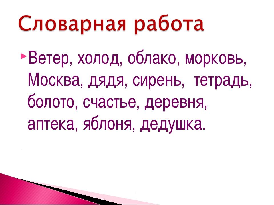 Ветер, холод, облако, морковь, Москва, дядя, сирень, тетрадь, болото, счастье...