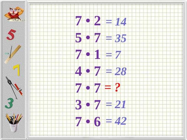 7 • 2 5 • 7 7 • 1 4 • 7 7 • 7 3 • 7 7 • 6 = ? = 14 = 35 = 7 = 28 = 21 = 42