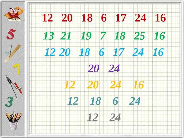 12 20 18 6 17 24 16 21 19 7 18 25 16 20 18 6 17 24 16 24 20 24 16 12 18 6 24...