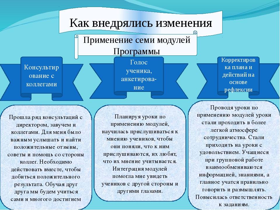 Как внедрялись изменения Применение семи модулей Программы Консультирование с...