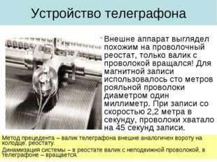 Устройство телеграфона Внешне аппарат выглядел похожим на проволочный реостат