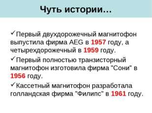 Чуть истории… Первый двухдорожечный магнитофон выпустила фирма AEG в 1957 год