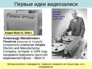 Первые идеи видеозаписи Александр Михайлович Понятов (Alexander M. Poniatoff)