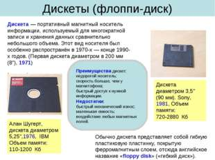 Дискеты (флоппи-диск) Дискета — портативный магнитный носитель информации, ис